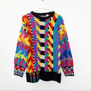 80s 90s Vintage Colorful Sweater M #2433